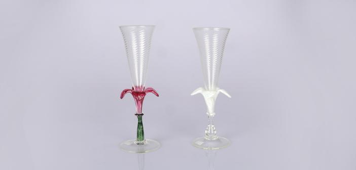 꽃장식 와인잔